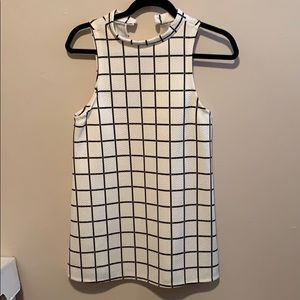 Off White/Black 60's Mod Inspired Mini Dress UO